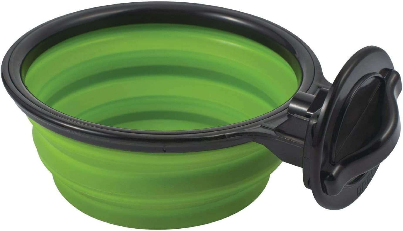 Zodaca Hanging Crate Dog Bowl, Collapsible Silicone Water Food Feeder Bowl Cage Coop Cup for Cat Bird Pet, Green/Black