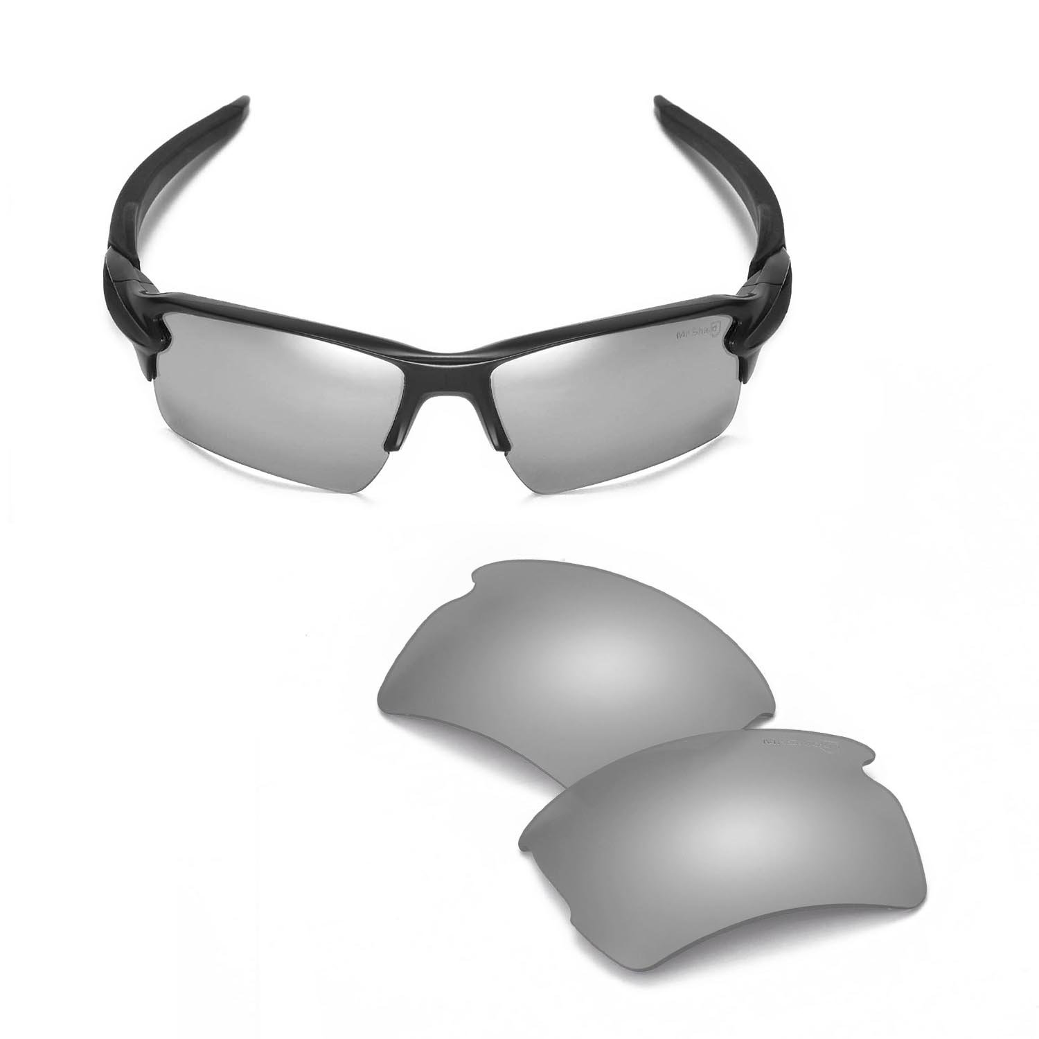 Walleva Replacement Lenses For Oakley Flak 2.0 XL Sunglasses - 14 Options Available (Titanium - Mr. Shield Polarized)