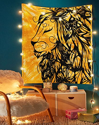 Solid Lion Tapestry - Indian Handmade Tie Dye Wall Hanging Tapestries Great Room Decoration Art Beach Throw Special College Dorm Window Door Curtain Tablecloth Yoga Mat -