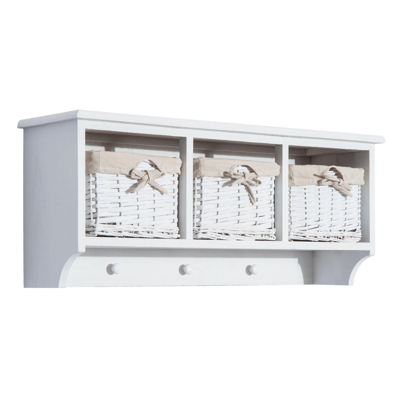 New White 31'' Cubby Wall Shelf Coat Rack Storage Entryway Cloak Room w/3 Baskets & Hook by totoshop