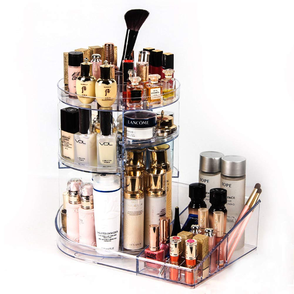 Acrylic Makeup Organizer Storage Tray 360 Degree Rotating Clear Adjustable Cosmetic Storage with Layers with Large Yahegongmao YT-CO-03jp