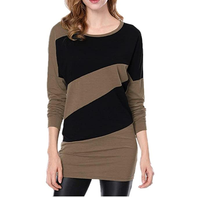 249617faeceed1 Image Unavailable. Image not available for. Color  Tsmile Women Blouses  Autumn Winter Long Sleeve Splice O Neck Panelled Casual Long T Shirts Tops