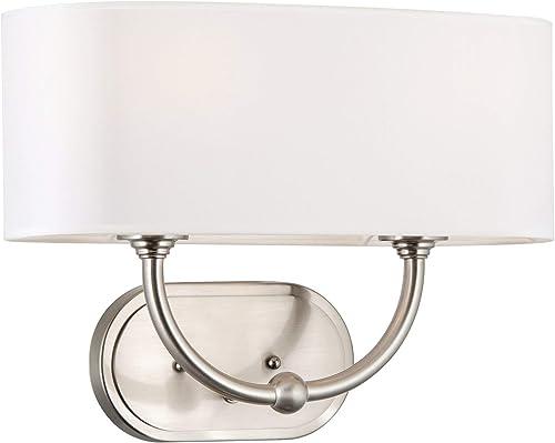 Kira Home Hewitt 16 2-Light Modern Wall Sconce Wall Light Oval White Fabric Shade, Brushed Nickel Finish