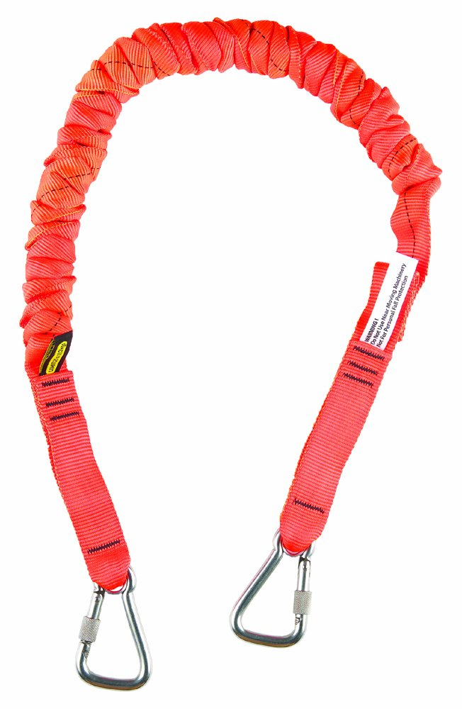 Gear Keeper TL1-4021 1'' Super Coil 10' Anchored Tool Tether/Lanyard with Double Stainless Steel Locking Carabiners, 41'' - 50'' Retracted Length
