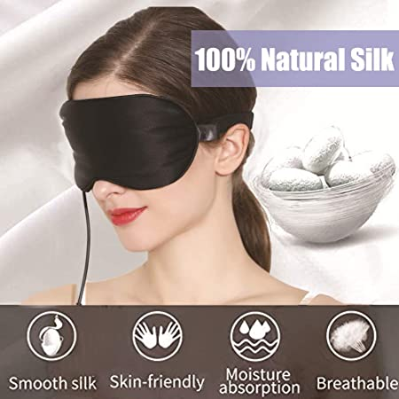 Amazon Com Heated Silk Eye Mask Hot Cold Compress Therapy For Relief Eye Puffiness Dry Eye Dark Circles Tired Eyes Weighted Sleeping Usb Heating Steam Blindfold With Time Temperature