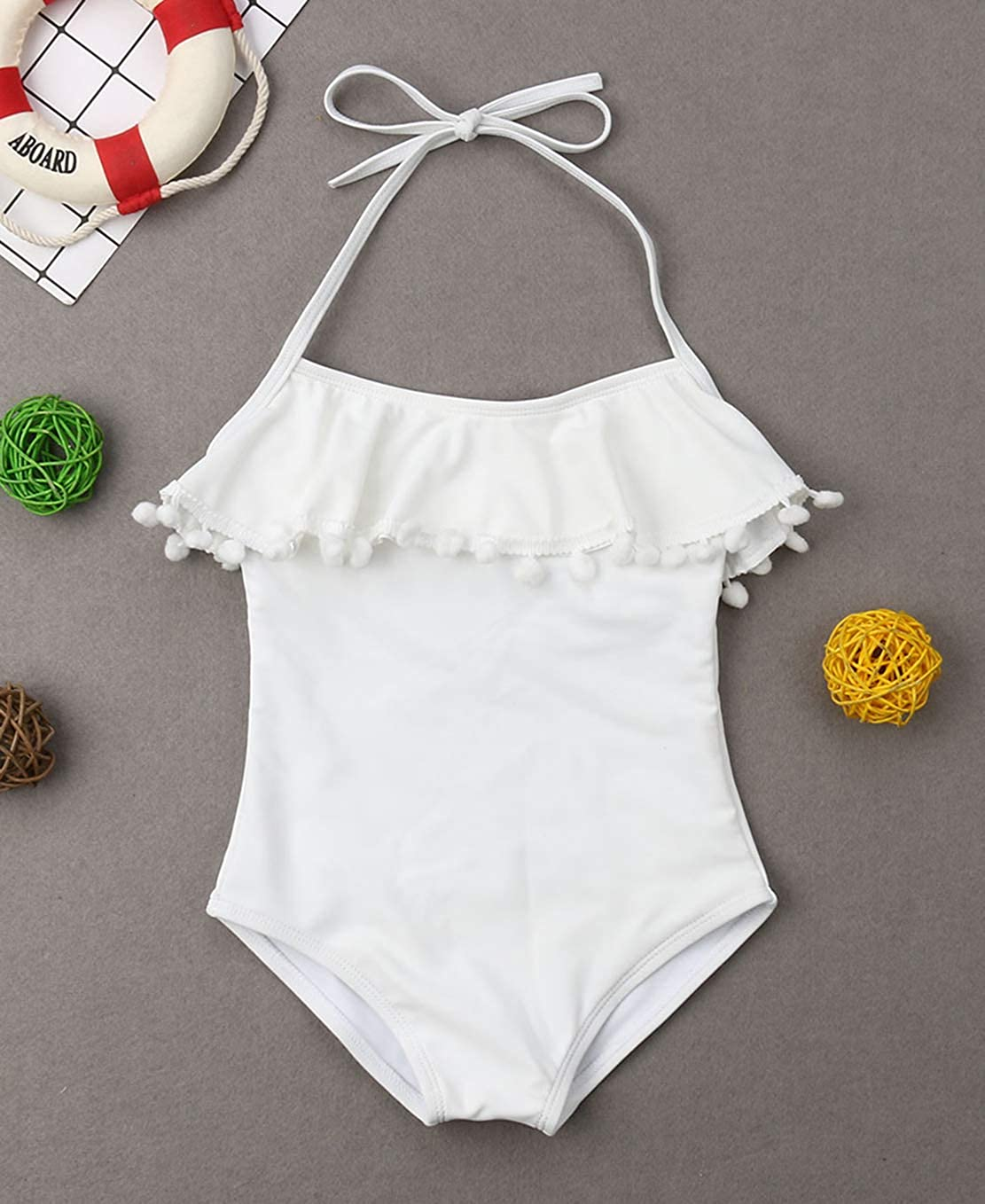 Family Matching Solid Color Lace Up Halter Neck Bathing Suit Mommy/&Me Spaghetti Straps Tassels Swimsuit
