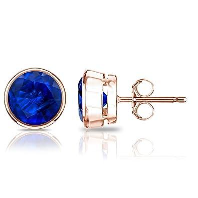 3ff45a3908e Amazon.com: Diamond Wish 14k Rose Gold Round Blue Sapphire Gemstone ...