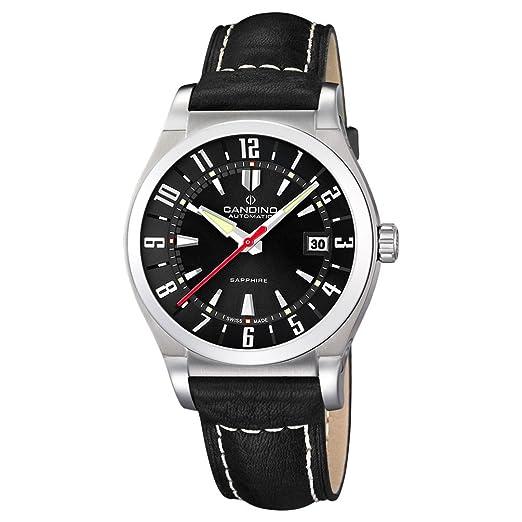 Reloj automático Candino hombre esfera negra correa de cuero negra C4441/5: Amazon.es: Relojes