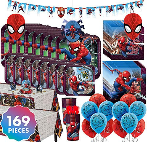 Party City Spider-Man Ultimate Party Kit for 16 Guests, 169 Pieces, Includes Plates, Napkins, Balloons, and Decor ()