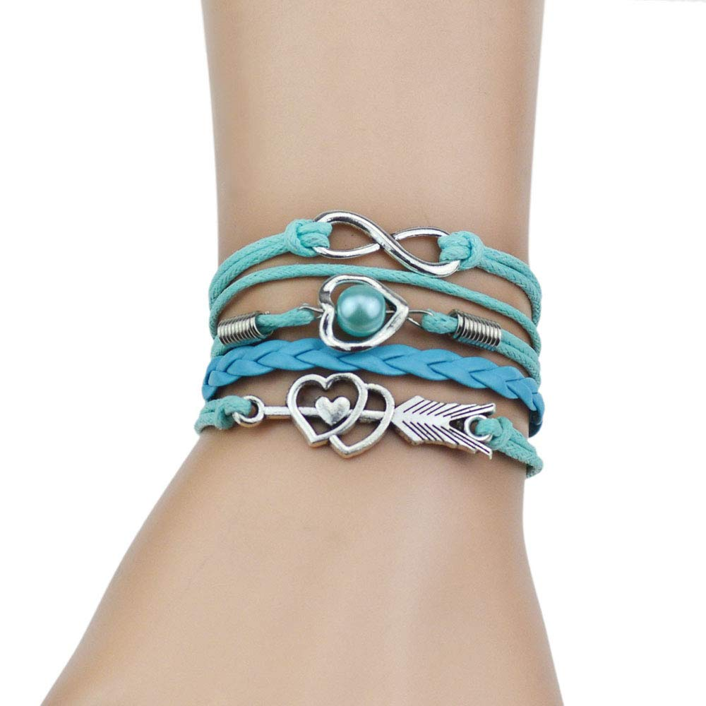 Jiuyuan Multi-Strands Infinity Silver Color Heart Charm Leather Braid Bracelet Bangle Jewelry
