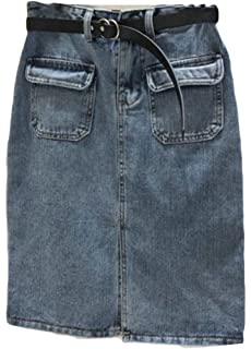 f1c9a6a608 Pivaconis Womens Beach High Rise Washed Zip Side Pleated Denim Flare ...