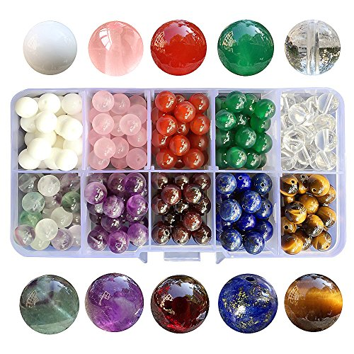 Chengmu 8mm Bead Kit Gemstone Beads for Jewelry Making 1 Box 10 Species Natural Tiger Eye Garnet lapis Agate Crystal etc Round Loose Stone Beads Set for Bracelet Necklace With (Color Natural Necklace Shell Beads)