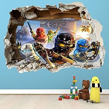 LEGO NINJAGO-SMASHED - 3D WANDTATTOO FÜR KINDERZIMMER, VINYL: Amazon ...