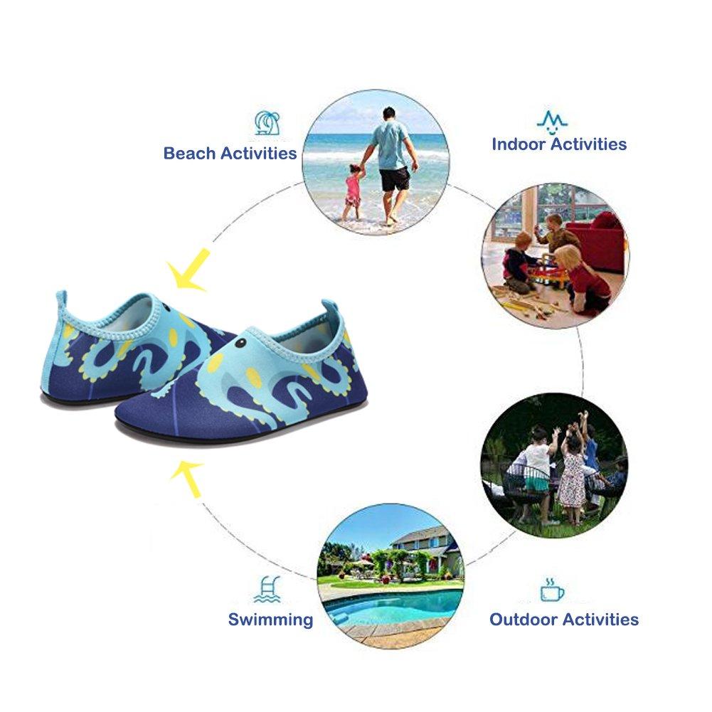 Lauwodun Baby Boys Girls Water Shoes Barefoot Aqua Sock Shoes for Beach Pool Surfing Yoga Swimming Walking-Green Octopus1819 by Lauwodun (Image #8)