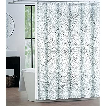 Tahari Fabric Shower Curtain Gray Tan Silver Paisley On White Eve