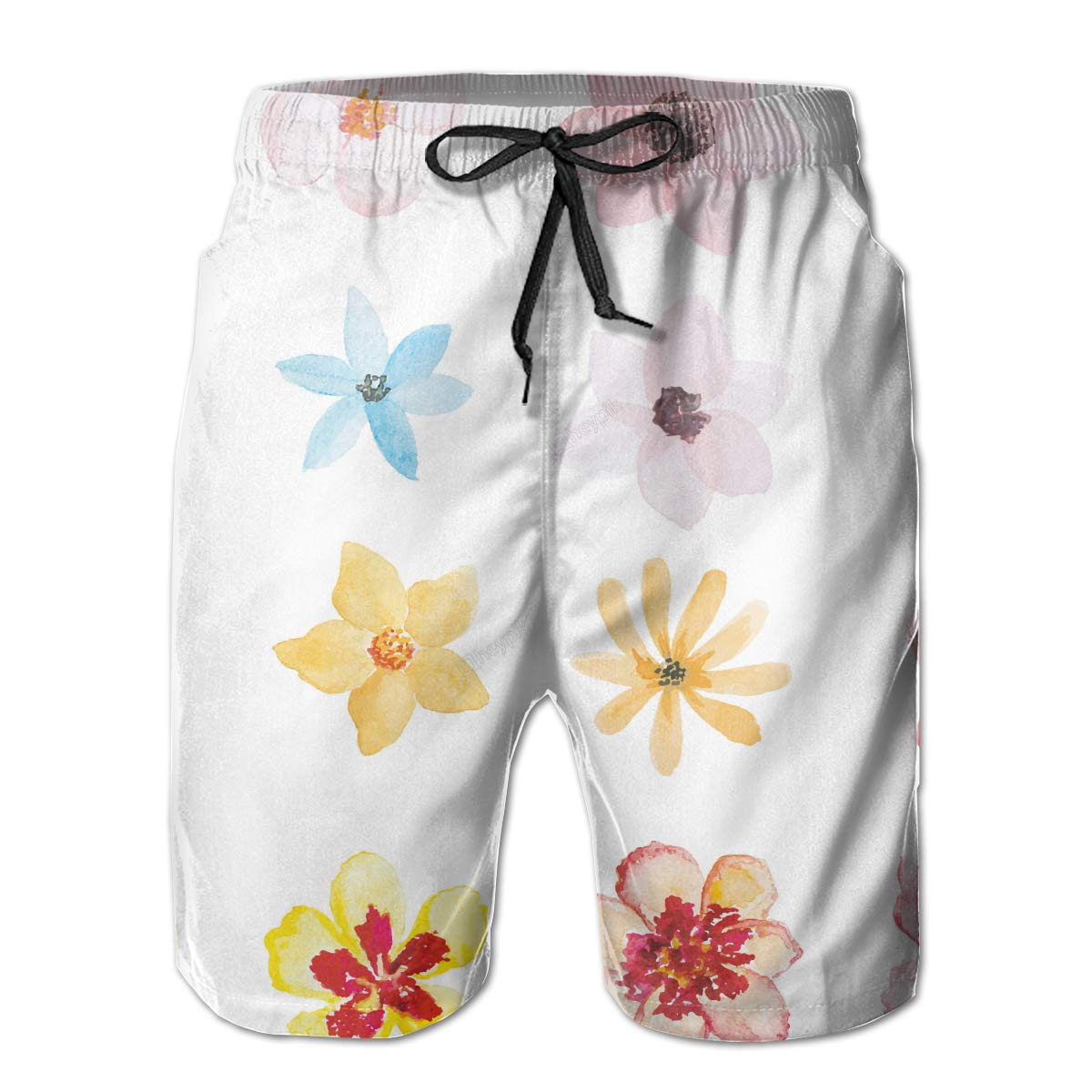 Leisue Colorful Flowers Quick Dry Elastic Lace Boardshorts Beach Shorts Pants Swim Trunks Fitted Mens Swimsuit with Pockets