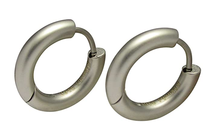 Kikuchi Creole Earrings Titanium Stainless Steel Classic Earrings 10 mm Extra Wide Polished Silver NGaTIT