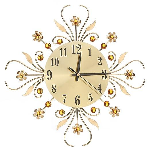 Amazon.de: ROSENICE Wanduhr Moderne Metalldiamanten Blume Stille Uhr ...