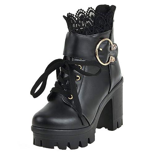 und Stiefeletten Braut Schnür Blockabsatz Schuhe Chunky Spitze Hochzeit Schnalle Heels mit UH Damen Plateau Boots 9D2IEH