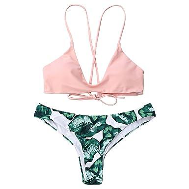 fa6df51be2232 GAMISS Women s Banana Leaves Print Two Piece Bikini Set Cami Bralette  Spaghetti Straps Bathing Suit(