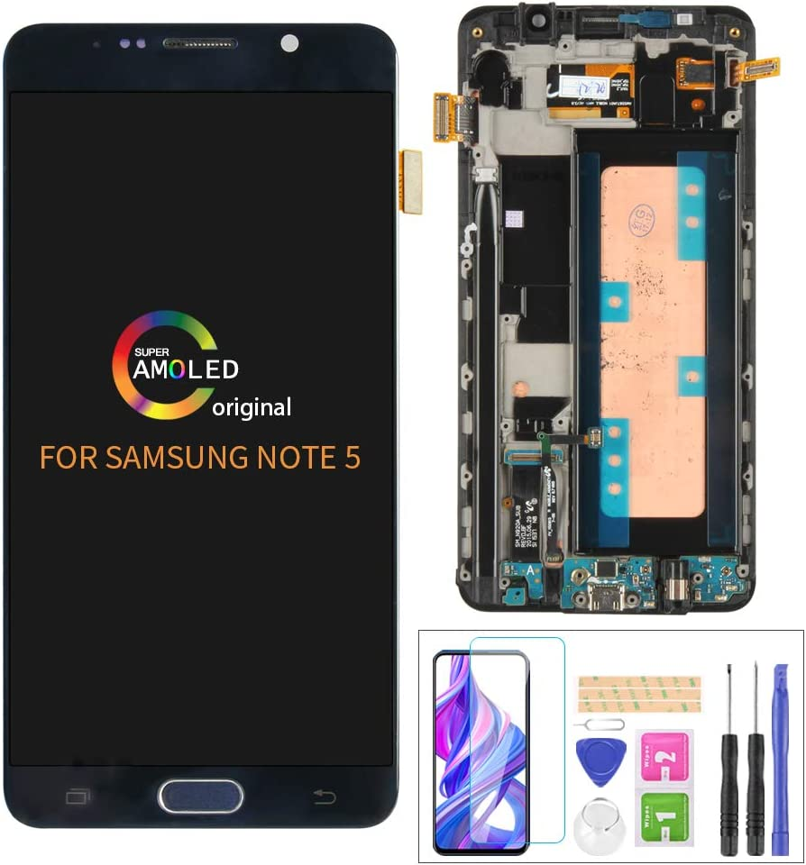 A-MIND for Samsung Galaxy Note 5 N920 SM-N920A N920i N920P N920T N920V 5.7inch Touch Screen Digitizer LCD Display Assembly Replacement Kits with Frame,Screen Protector+Tools (Blue with Frame)