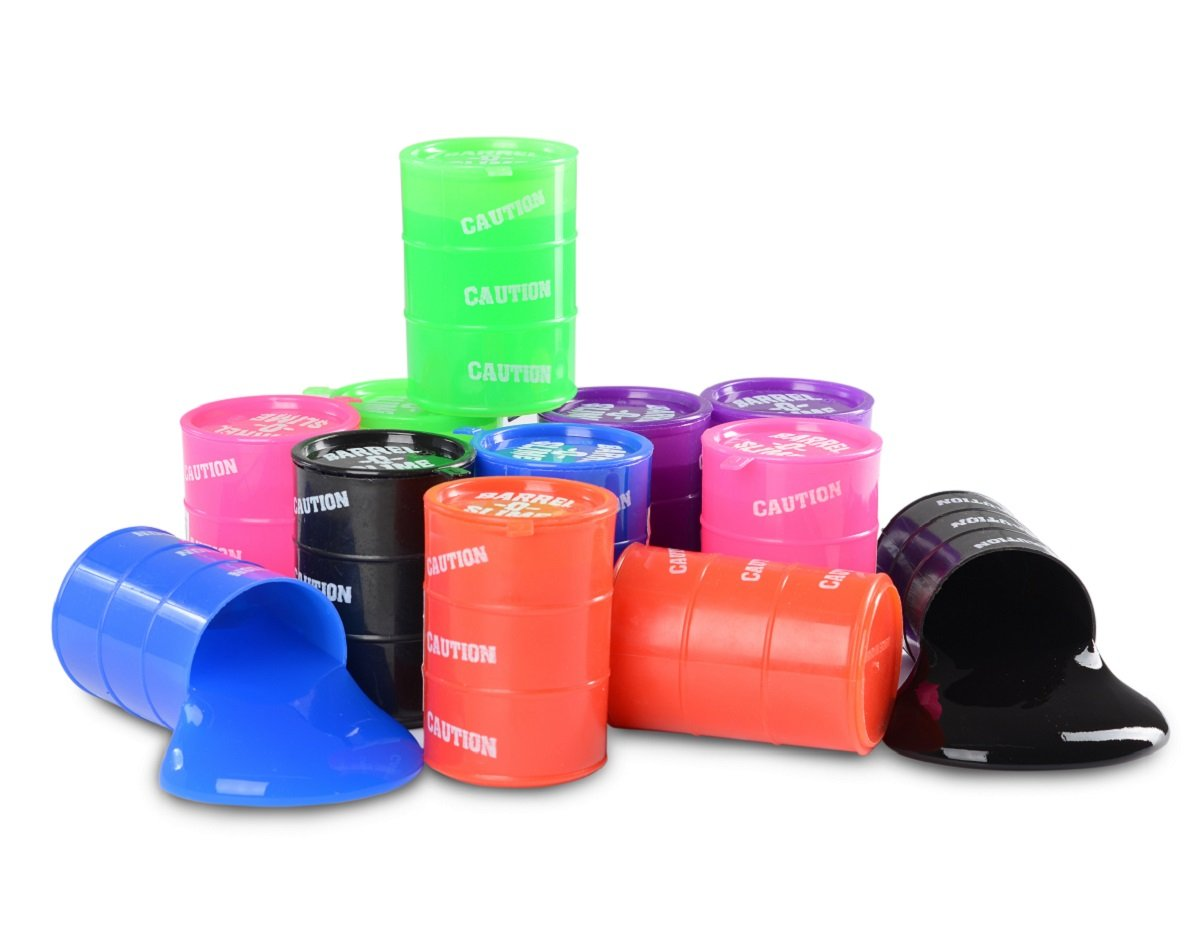 Kidsco Small Barrel of Slime - 24 Pack Assorted Colors - Container 2 Inches - for Kids Boys and Girls, Party Favor, Fun, Toy, Novelty, Gift, Prize.