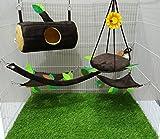 Brown Sugar Pet Store 5 piece Sugar Glider Cage Set Timber Pattern Dark Brown Color