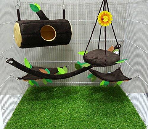 Brown Sugar Pet Store 5 piece Sugar Glider Cage Set Timber Pattern Dark Brown (Jamison Pet Bed)