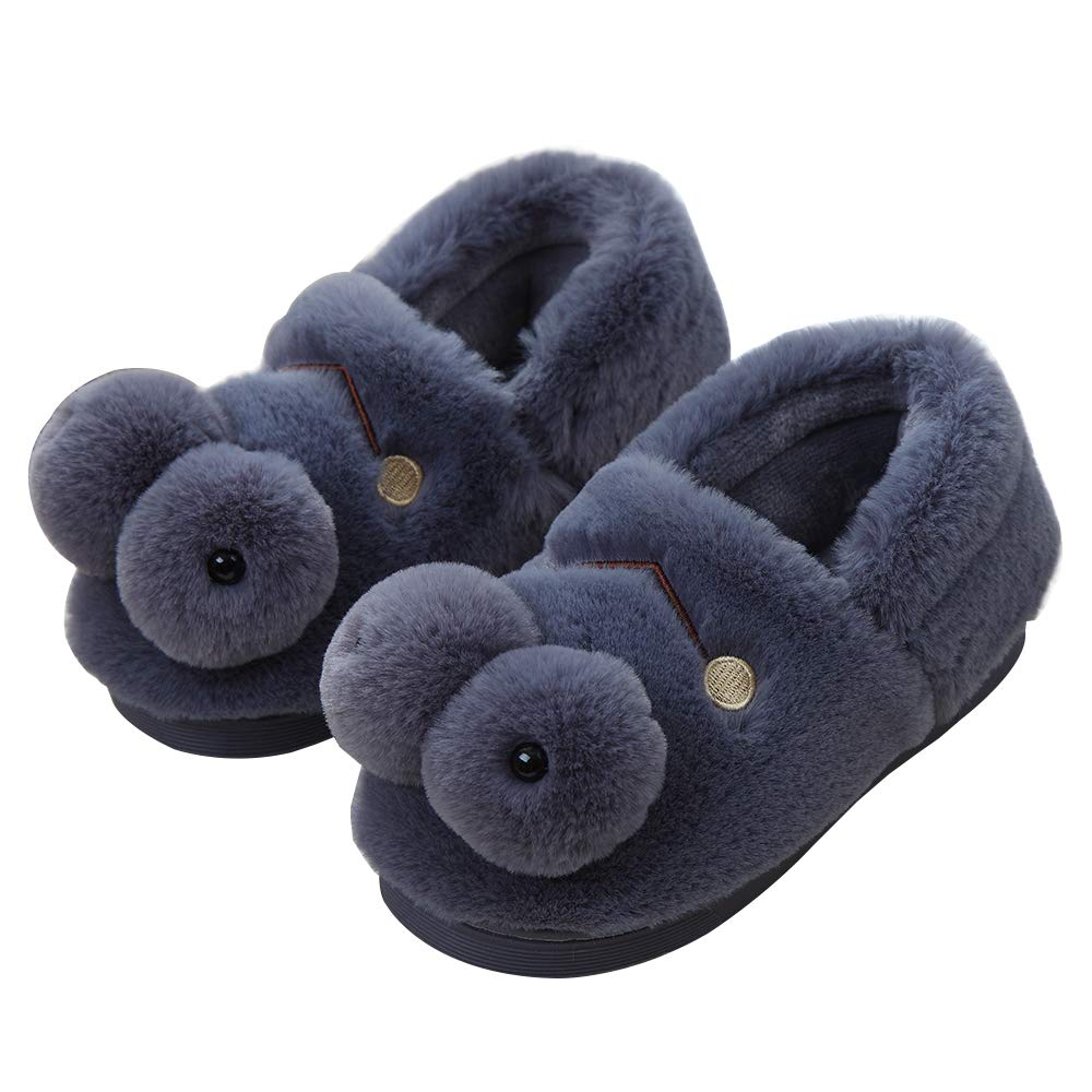 Cartoon Frog Children's Slippers Indoor Fashion Plush Cotton Slippers for Girls Boys Autumn and Winter Dark Grey Medium