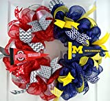 Football Fan Gift | House Divided sports team college university professional Mesh Door Wreath; most teams