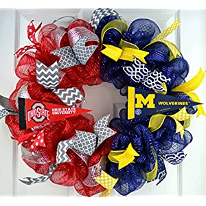 Football Fan Gift | House Divided sports team college university professional Mesh Door Wreath; most teams 65
