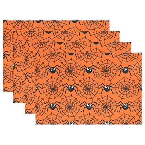 MAPOLO Halloween Spiders And Webs Pattern Placemats Plate Holder 12