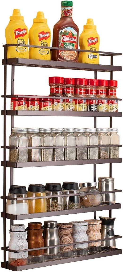 3 Tier Spice Herb Jar Storage Holder Wall Mounted Cupboard Door Rack Kitchen