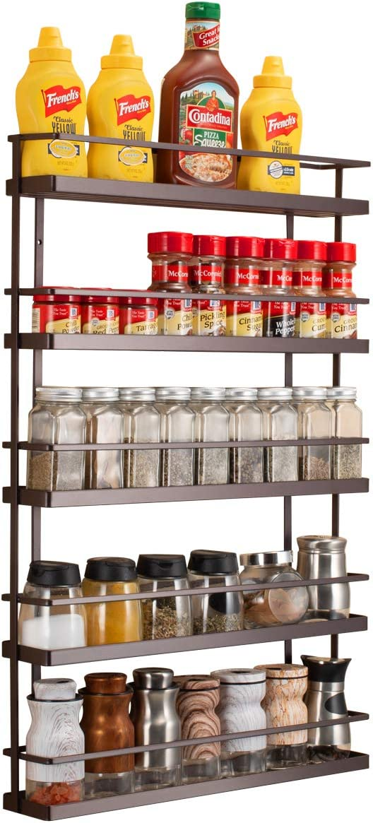 Amazon Com 5 Tier Wall Mount Spice Rack Organizer Pantry Cabinet Door Spice Shelf Storage Home Improvement