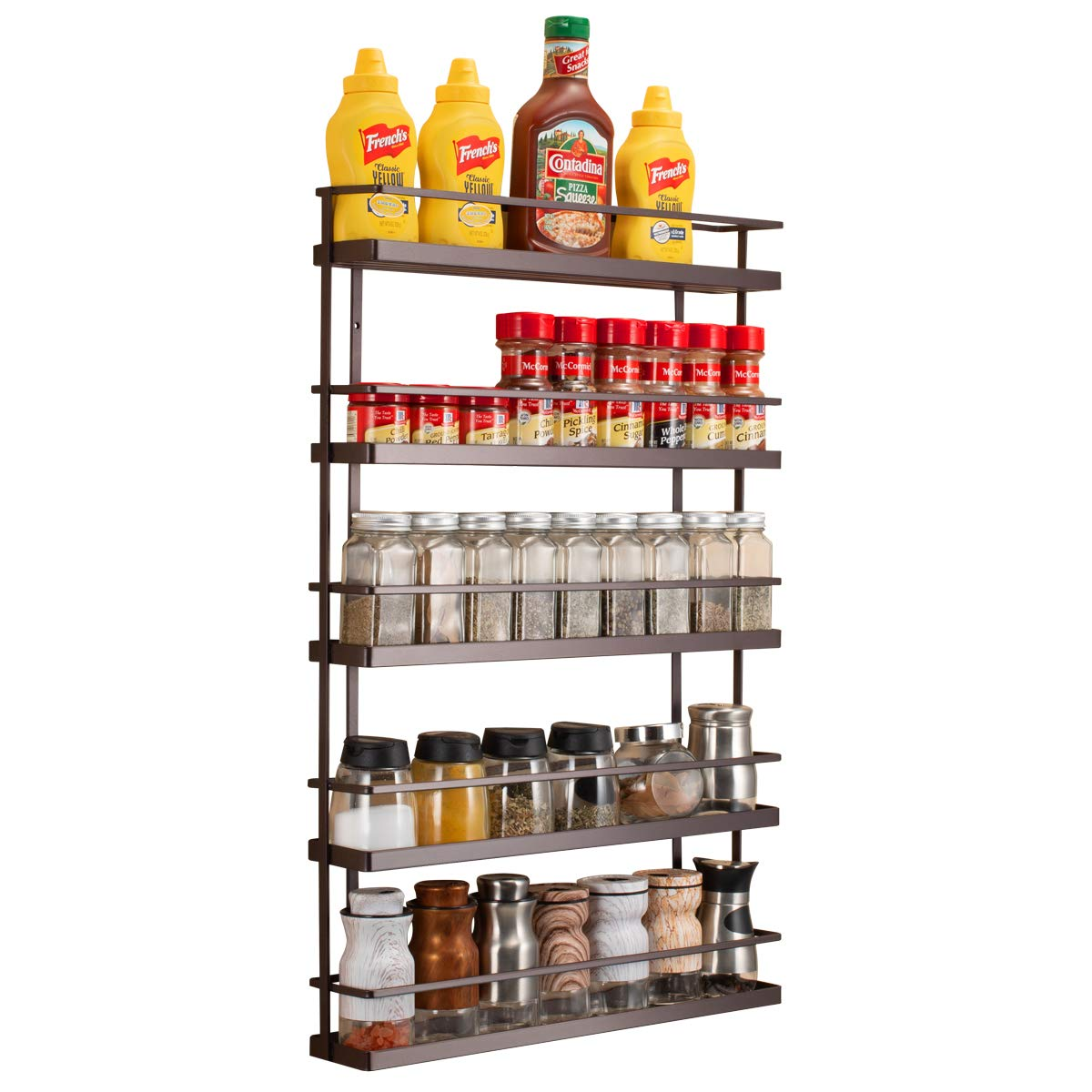 5 Tier Wall Mount Spice Rack Organizer,Pantry Cabinet Door Spice Shelf Storage by GONGSHI