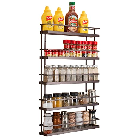 Amazon Com 5 Tier Wall Mount Spice Rack Organizer Pantry Cabinet