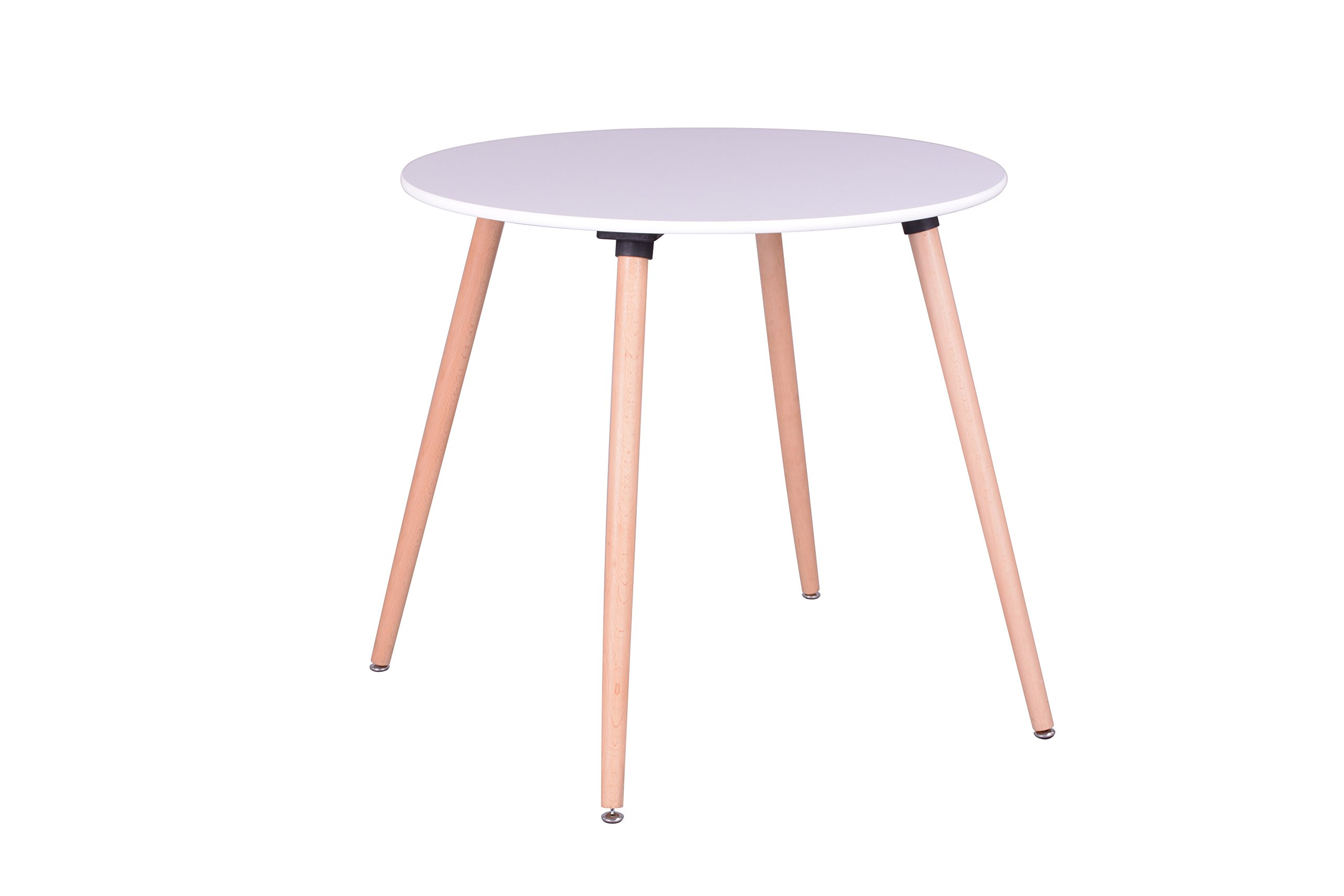 White Finish Top Steel Legs in Natural Color Round Dining Table - Mid Century Style (Table only)