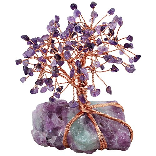 mookaitedecor Amethyst Crystal Tree, Raw Crystals Fluorite Base Bonsai Money Tree for Wealth and Luck (Warming Office Gifts)