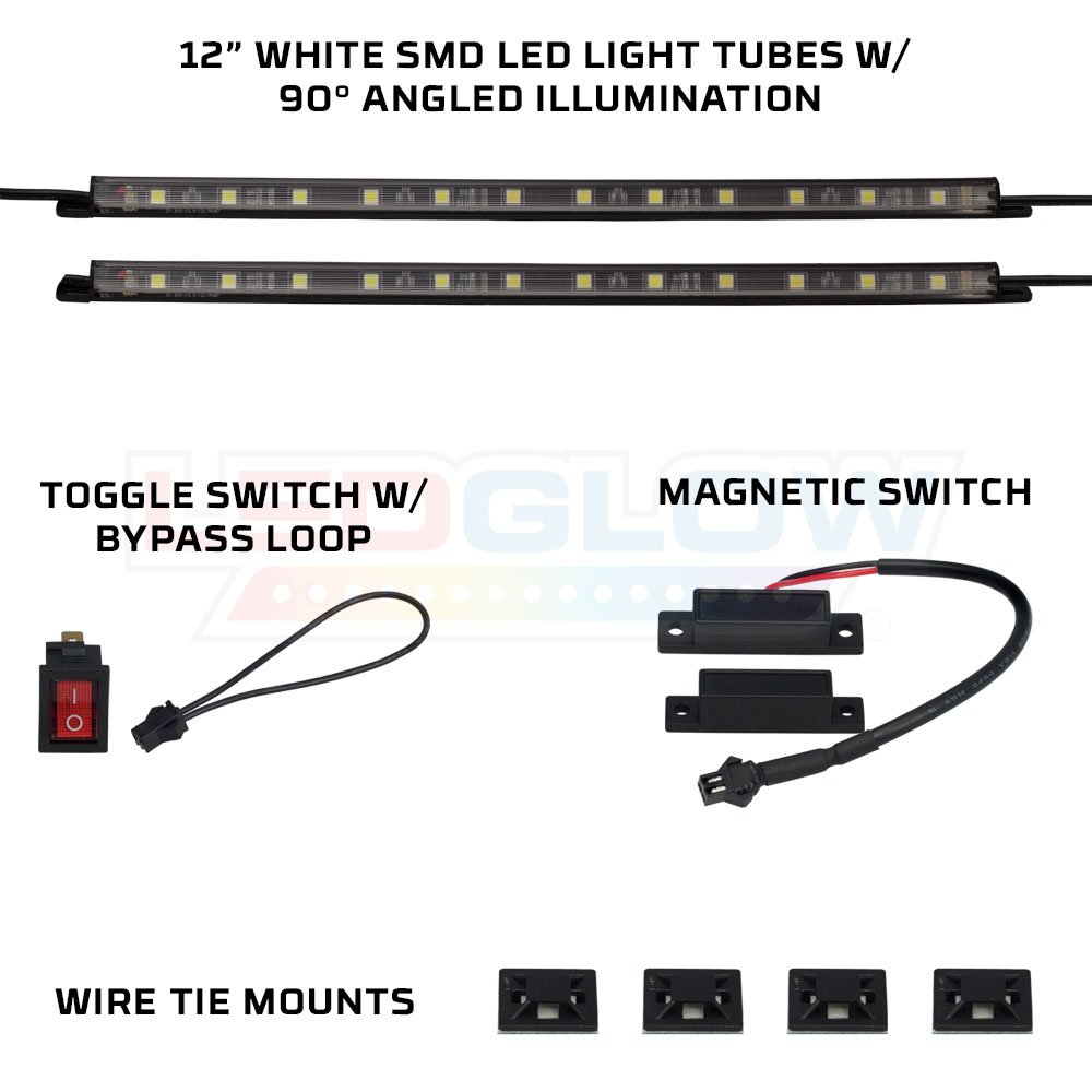 Includes Magnetic Power Switch for Automatic On//Off LEDGlow 2pc Truck Tool Box LED Lights