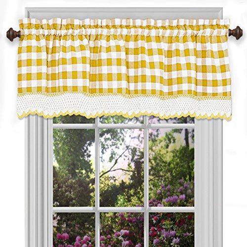 Designer Home Window Panel Curtain Drape Valance Scarf Gingham Checked Checkered Plaid Yellow - 58