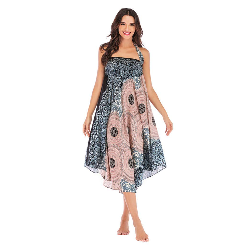 Tantisy ♣↭♣ Women's High-Waisted Boho Asymmetrical Hem Tie up Long Maxi Print Wrap Skirt Ladies Flowy Chiffon Beach Skirts Beige