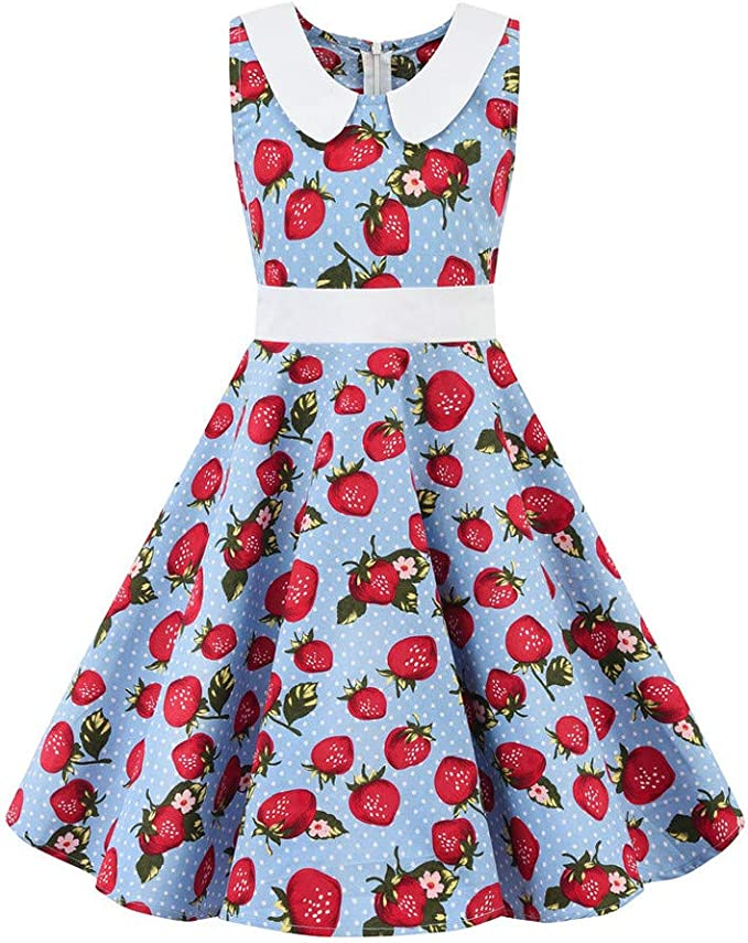 Toddler Kids Baby Girl Princess Strawberry Party Dress Sleeveless Summer Dresses