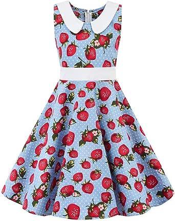 Kids Teen Children Girl Vintage 1950s Retro Sleeveless Dot Print Casual Dress UK