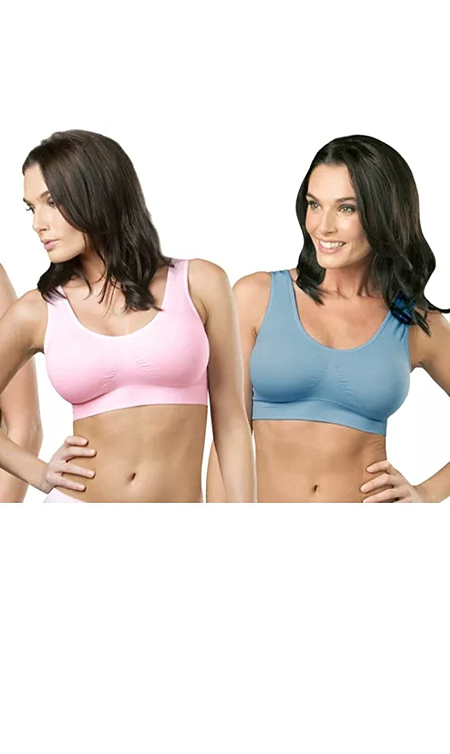 960ad21f566 Genie Bra Womens Seamless Wireless Bra, As Seen on TV - 2 Pack (Barely Pink  & Powder Blue)- Medium at Amazon Women's Clothing store: