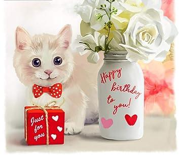 WACYDSD Pintura por Números para Adultos Cumpleaños del Gato ...