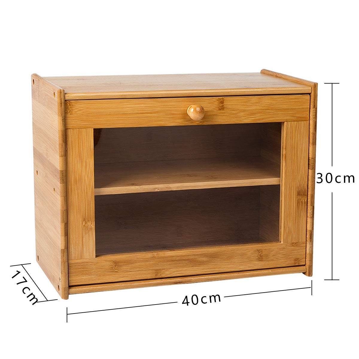 panera de almacenamiento para cocina con ventana transparente Panera de bamb/ú de 2 capas para pan estilo retro 40 x 30 x 17 cm panera
