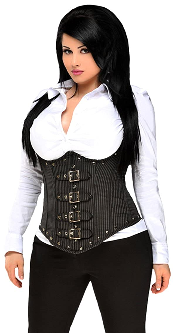 c2c70ee3f1 Amazon.com  Daisy corsets Women s Top Drawer Steel Boned Pinstripe  Underbust Corset W Buckling  Clothing