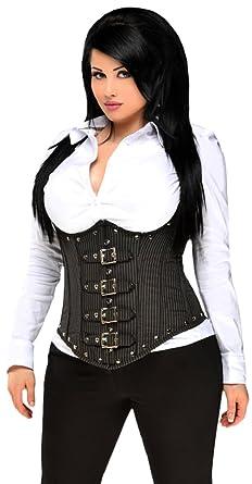 454347b0d Amazon.com  Daisy corsets Women s Top Drawer Steel Boned Pinstripe  Underbust Corset W Buckling  Clothing