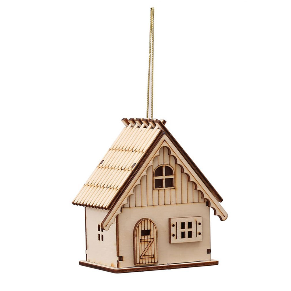 TiooDre Novelty Decorations Wooden Christmas House LED Lights Xmas Villages Pendant Ornaments Hanging Decor size Style A