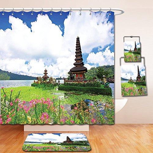 Nalahome Bath Suit: Showercurtain Bathrug Bathtowel Handtowel Balinese Decor Pura Ulun Danu Temple in Bali Tropic Flowers Water Plants Tower in the Sea Scenery Blue Green - Tower Macy Water
